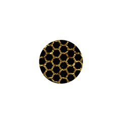 Hexagon2 Black Marble & Gold Foil 1  Mini Buttons