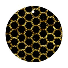 Hexagon2 Black Marble & Gold Foil Round Ornament (two Sides)