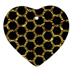 Hexagon2 Black Marble & Gold Foil Heart Ornament (two Sides)
