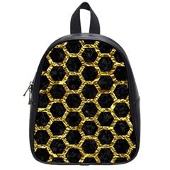 Hexagon2 Black Marble & Gold Foil School Bag (small)