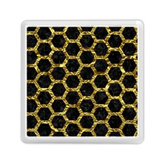 Hexagon2 Black Marble & Gold Foil Memory Card Reader (square)