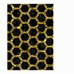 Hexagon2 Black Marble & Gold Foil Small Garden Flag (two Sides)