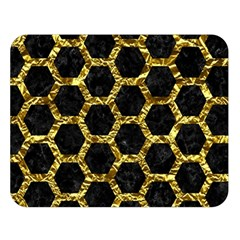 Hexagon2 Black Marble & Gold Foil Double Sided Flano Blanket (large)