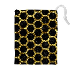 Hexagon2 Black Marble & Gold Foil Drawstring Pouches (extra Large)