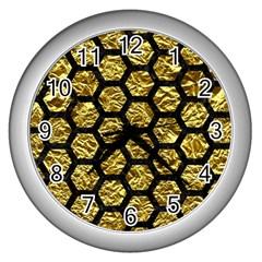 Hexagon2 Black Marble & Gold Foil (r) Wall Clocks (silver)