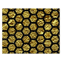 Hexagon2 Black Marble & Gold Foil (r) Rectangular Jigsaw Puzzl