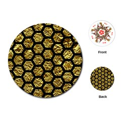 Hexagon2 Black Marble & Gold Foil (r) Playing Cards (round)