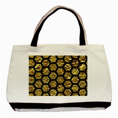 Hexagon2 Black Marble & Gold Foil (r) Basic Tote Bag