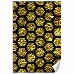 Hexagon2 Black Marble & Gold Foil (r) Canvas 20  X 30
