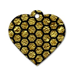 Hexagon2 Black Marble & Gold Foil (r) Dog Tag Heart (one Side)