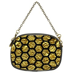 Hexagon2 Black Marble & Gold Foil (r) Chain Purses (one Side)