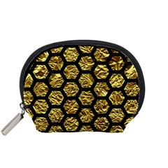 Hexagon2 Black Marble & Gold Foil (r) Accessory Pouches (small)