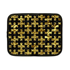 Puzzle1 Black Marble & Gold Foil Netbook Case (small)
