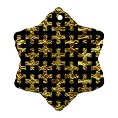 Puzzle1 Black Marble & Gold Foil Snowflake Ornament (two Sides)