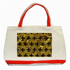 Royal1 Black Marble & Gold Foil Classic Tote Bag (red)
