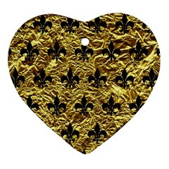 Royal1 Black Marble & Gold Foil Heart Ornament (two Sides)