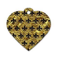 Royal1 Black Marble & Gold Foil Dog Tag Heart (two Sides)