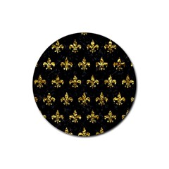 Royal1 Black Marble & Gold Foil (r) Rubber Round Coaster (4 Pack)