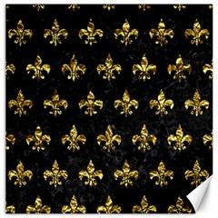 Royal1 Black Marble & Gold Foil (r) Canvas 16  X 16