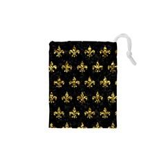 Royal1 Black Marble & Gold Foil (r) Drawstring Pouches (xs)