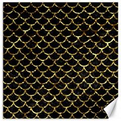 Scales1 Black Marble & Gold Foil Canvas 16  X 16