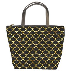 Scales1 Black Marble & Gold Foil Bucket Bags