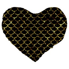 Scales1 Black Marble & Gold Foil Large 19  Premium Flano Heart Shape Cushions