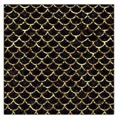 Scales1 Black Marble & Gold Foil Large Satin Scarf (square)