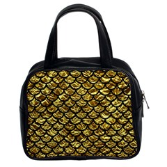 Scales1 Black Marble & Gold Foil (r) Classic Handbags (2 Sides)