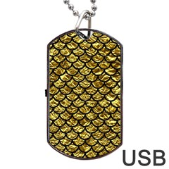 Scales1 Black Marble & Gold Foil (r) Dog Tag Usb Flash (one Side)