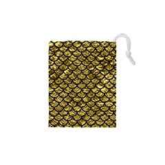 Scales1 Black Marble & Gold Foil (r) Drawstring Pouches (xs)