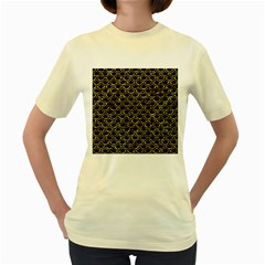 Scales2 Black Marble & Gold Foil Women s Yellow T Shirt