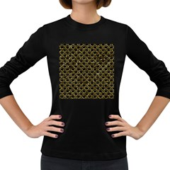 Scales2 Black Marble & Gold Foil Women s Long Sleeve Dark T Shirts