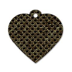 Scales2 Black Marble & Gold Foil Dog Tag Heart (one Side)