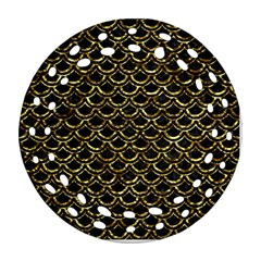Scales2 Black Marble & Gold Foil Round Filigree Ornament (two Sides)