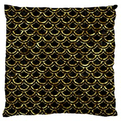 Scales2 Black Marble & Gold Foil Large Cushion Case (one Side)