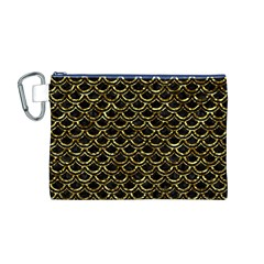 Scales2 Black Marble & Gold Foil Canvas Cosmetic Bag (m)