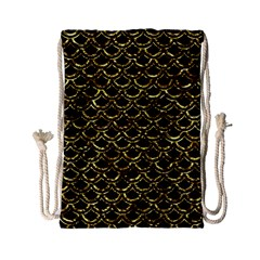 Scales2 Black Marble & Gold Foil Drawstring Bag (small)