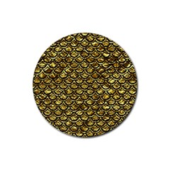 Scales2 Black Marble & Gold Foil (r) Rubber Coaster (round)