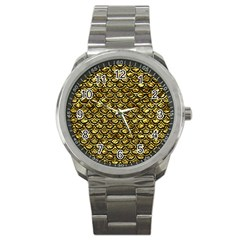 Scales2 Black Marble & Gold Foil (r) Sport Metal Watch