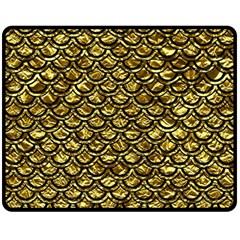 Scales2 Black Marble & Gold Foil (r) Double Sided Fleece Blanket (medium)