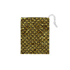 Scales2 Black Marble & Gold Foil (r) Drawstring Pouches (xs)