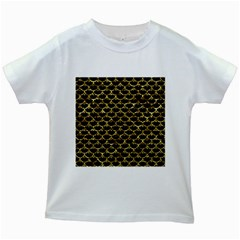 Scales3 Black Marble & Gold Foil Kids White T Shirts