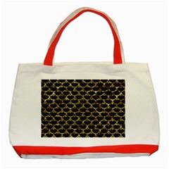 Scales3 Black Marble & Gold Foil Classic Tote Bag (red)