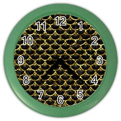 Scales3 Black Marble & Gold Foil Color Wall Clocks