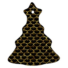 Scales3 Black Marble & Gold Foil Christmas Tree Ornament (two Sides)