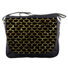 Scales3 Black Marble & Gold Foil Messenger Bags