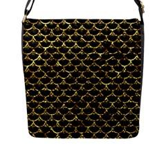 Scales3 Black Marble & Gold Foil Flap Messenger Bag (l)