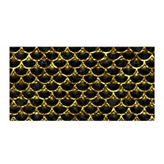 Scales3 Black Marble & Gold Foil Satin Wrap