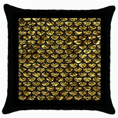 Scales3 Black Marble & Gold Foil (r) Throw Pillow Case (black)